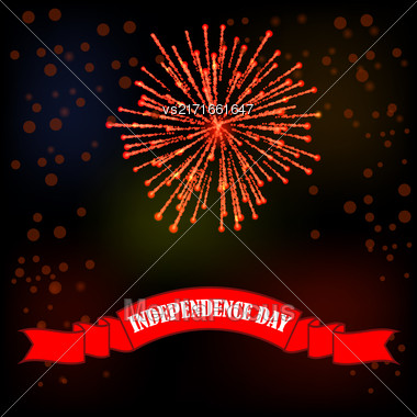 Independense Day Of America. Red Ribbon On Night Sky Background Stock Photo