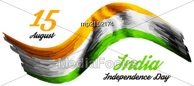 Indian Independence Day Vector Background With Flag Stock Photo