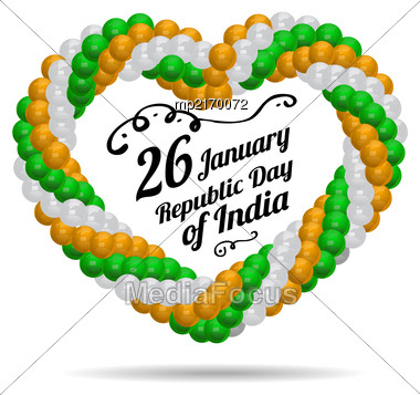 Indian Republic Day Vector Background With Flag On White Stock Photo