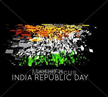 Indian Republic Day Vector Background With Flag On Black Stock Photo