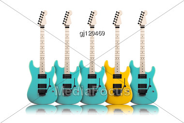 Individuality Concept. Yellow Guitar In A Middle Of Blue Stock Photo