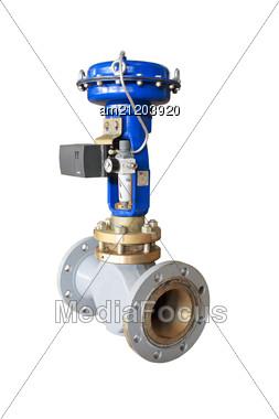 Industrial Pneumatic Valve Stock Photo