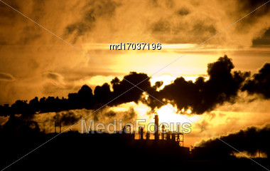 Industrial Pollution Canada Saskatchewan Smoke Billowing Environment Stock Photo