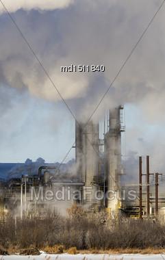 Industrial Pollution Refinery In Saskatchewan Canada Environment Stock Photo