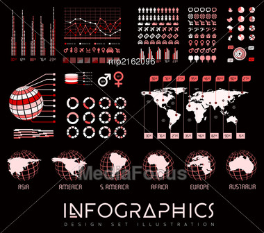Infographics Vector Set Illustration On Black Background Stock Photo
