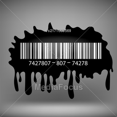Ink Blot With Barcode Isolated On Grey Background Stock Photo