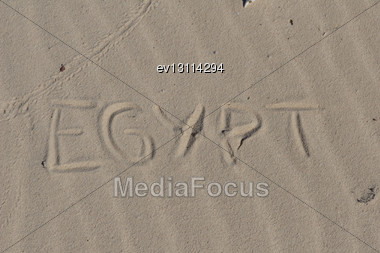 "Inscription "" Egypt"" On A Sand N A Beach Stock Photo"