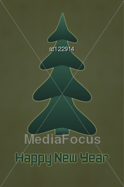 Inscription Happy New Year With Christmas Tree On The Old Cracked Background Stock Photo