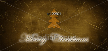 Inscription Merry Christmas With Christmas Tree On The Old Cracked Background Stock Photo