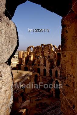 Inside Of Arena El Jem In Tunisia,coliseum Stock Photo