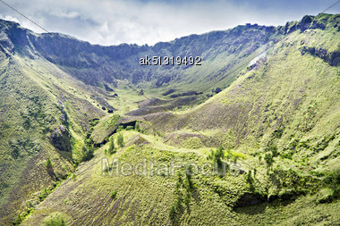 Inside Batur Volcano, Bali Island Stock Photo