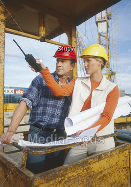 Inspecting the Construction Site Stock Photo