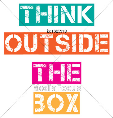 "Inspirational Quote.""Think Outside The Box"", Vector Format Stock Photo"