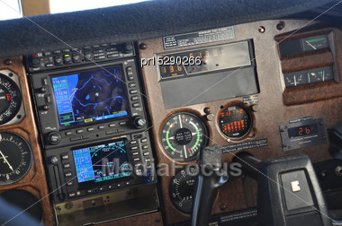Instrument Panel Of A Light Aircraft Showing Approach To Greymouth, New Zealand Stock Photo