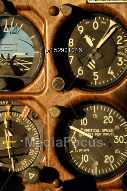Instruments In The Cockpit Of Of Cessna 210 Aircraft Stock Photo