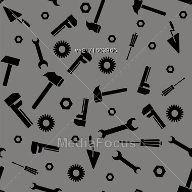 Instruments Silhouette Seamless Pattern On Grey Background Stock Photo