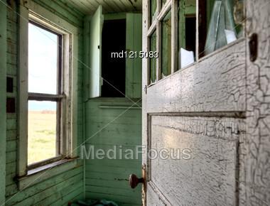 Interior Abandoned House Prairie Saskatchewan Canada Stock Photo