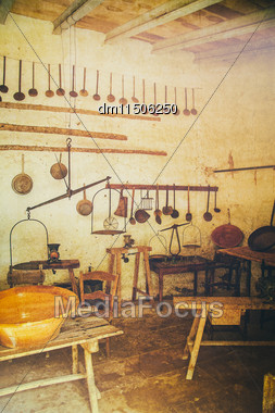 Interior Of Barn With Scales And Other Stuff. Vintage Effect Stock Photo