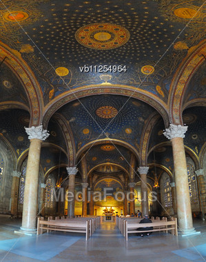 Interior Of The Church Of All Nations, Central Aisle Stock Photo