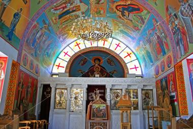 Interior Of Village Church In Cyprus. Stock Photo