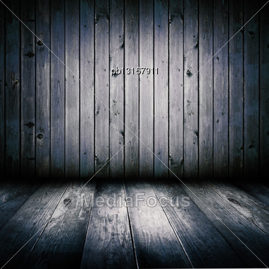 Interior Of An Old Wooden Shed, Illuminated By The Full Moon Stock Photo