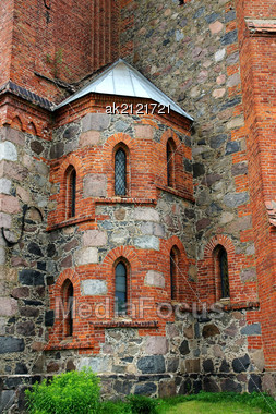 Internal Spiral Staircase Of The Old Buildings Of Stone And Brick Stock Photo