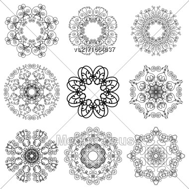 Islam, Arabic, Indian, Ottoman Motifs. Monochrome Contour Mandala Isolated On White Background. Ethnic Amulet Of Mandala Stock Photo