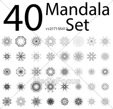 Islam, Arabic, Indian, Ottoman Motifs. Monochrome Contour Mandala Isolated On White Background. Ethnic Amulet Of Mandala Stock Photo