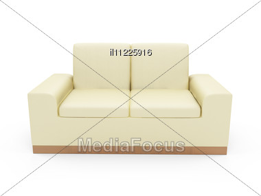 Isolated Beige Sofa Stock Photo