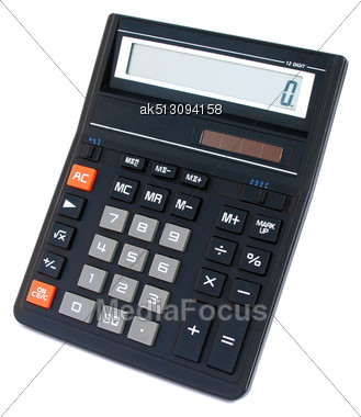 Isolated Big Black Office Calculator Stock Photo