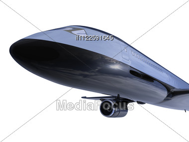 Isolated Black Airplane Stock Photo