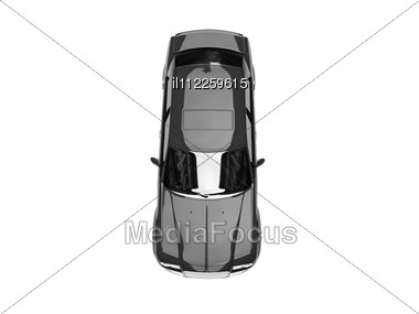 Isolated Black Car Top View Stock Photo