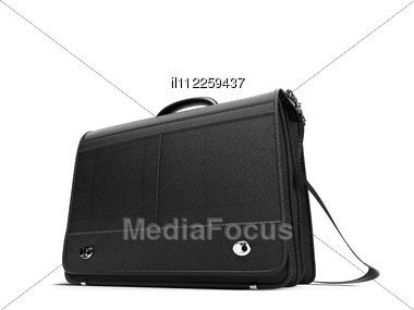 Isolated Black Leather Hand Bag Over White Stock Photo