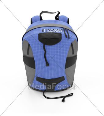 Isolated Blue Rucksack Stock Photo