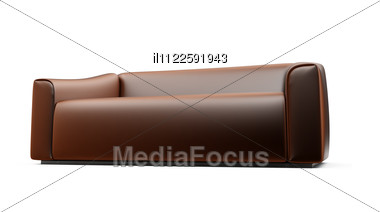 Isolated Brown Sofa On A Whhite Background Stock Photo
