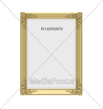 Isolated Decorative Golden Frame Over White Stock Photo