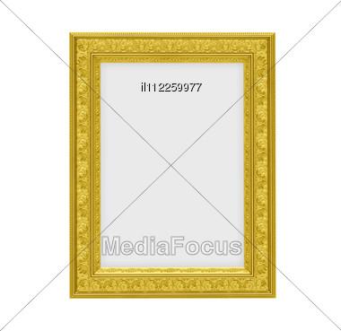Isolated Decorative Golden Frame Stock Photo