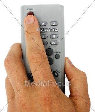 Isolated Remote Control In The Hand Stock Photo
