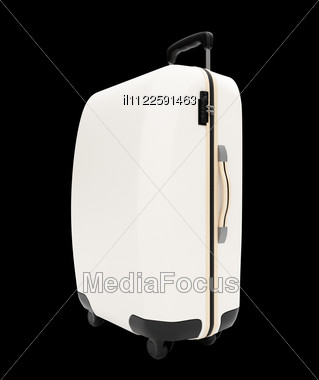 Isolated Travel Bag On A Black Background Stock Photo