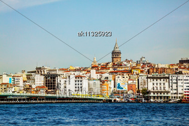 ISTANBUL - APRIL 6: Istanbul Cityscape With Galata Tower On April 06, 2013 In Istanbul, Turkey. It's A Medieval Stone Tower In The Galata/Karakoy Quarter Of Istanbul, Turkey, Just To The North Of The  Stock Photo
