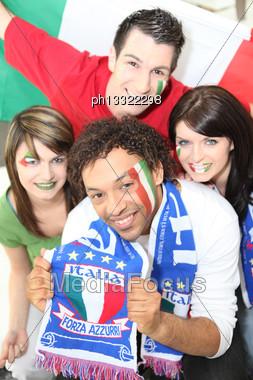 Italian Football Fans Stock Photo