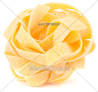 Italian Pasta Fettuccine Nest Isolated On White Background Stock Photo
