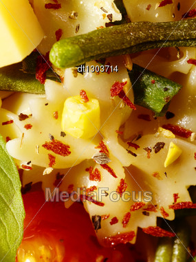 Italian Pasta With String Beans, Cheese And Spices Stock Photo
