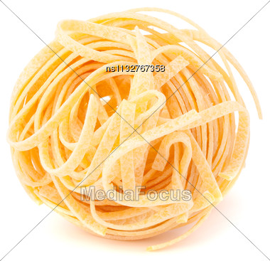 Italian Pasta Tagliatelle Nest Isolated On White Background Stock Photo
