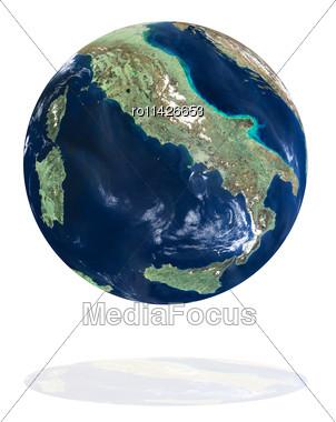 Italy On The Earth Planet. Data Source: Nasa Stock Photo