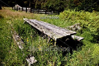 Jackson Bay New Zealand Weathered Picnic Table Stock Photo