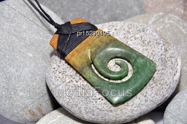 Jade Adze Pendant Made From Westland Pounamu, West Coast, South Island, New Zealand Stock Photo