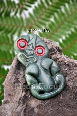 Jade Carving Of Maori Tiki, West Coast, South Island, New Zealand Stock Photo