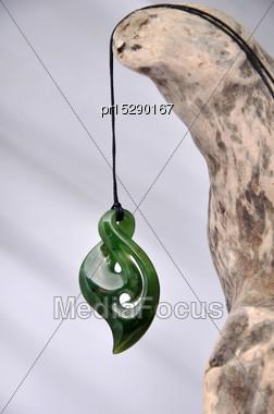 Jade Pendant Made From Westland Pounamu, West Coast, South Island, New Zealand Stock Photo