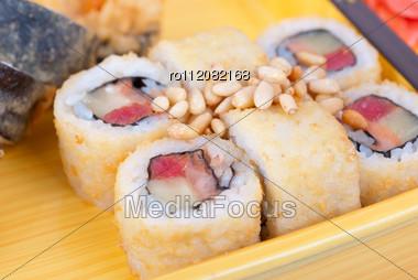 Japanese Cuisine Of Wooden Ship Closeup Stock Photo
